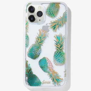 Protective Clear Case for iPhone Teal Pineapples